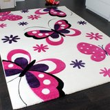 Vlinders design speelkleed wit - roze 13mm_